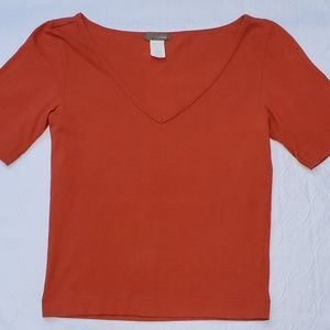 Orange fitted women's t-shirt